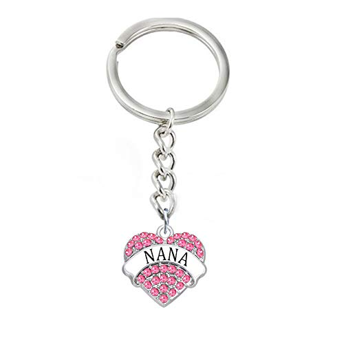 Christmas Mother's Day Gifts for Nana Keychain Engraved Crystal Pave Heart Pendant Keyring