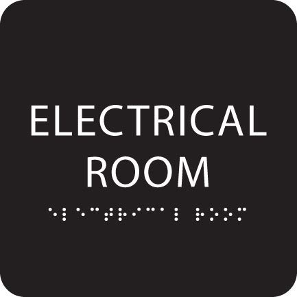 Black ADA Electrical Room Sign with Braille  Made from Durable Acrylic and Ready to Mount