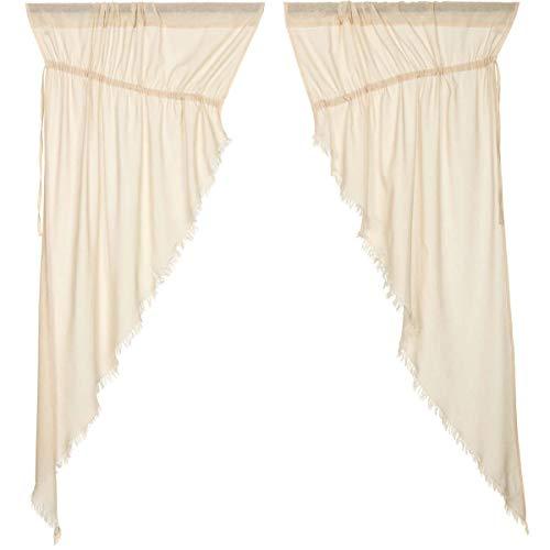 VHC Brands Coastal Farmhouse Window Tobacco Cloth White Fringed Prairie Curtain Pair, x King, Natural (Renewed)]()