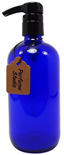 Single Perfume Oils (Perfume Studio® Professional Grade Blue Cobalt Glass Boston Round Bottle with Top Quality Dispensing Pump - Perfect for Lotions, Soaps, Massage and Skin Oils, Hair Treatments and More (16 OZ, COBALT BLUE))