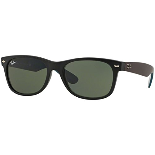 Ray-Ban RB2132 New Wayfarer Non Polarized Sunglasses, Matte Black (Blue/Purple arms), Green 55 - Rb Rayban Out