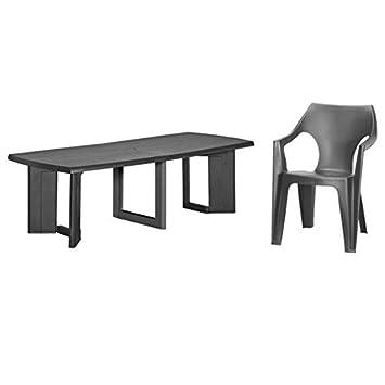 Allibert de new york table et chaise 260 dante (4x) anthracite ...