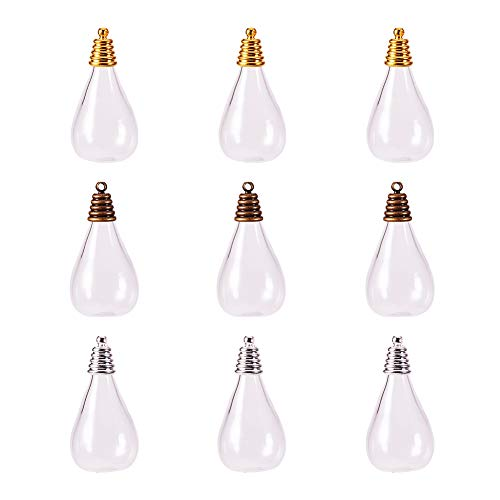 PH PandaHall 9 Sets Drop Shape Cear Glass Bottle Hanging Pendant Wish Bottles with Antique Bronze/Golden/Silver Alloy Cap for Earring Necklace Pendant Jewelry Making