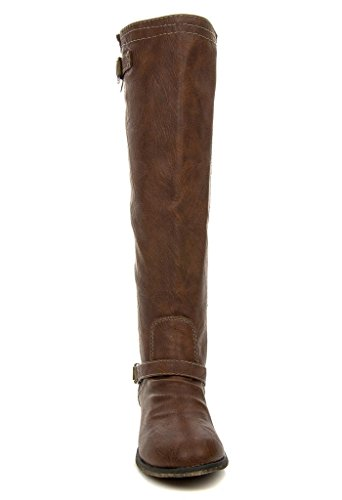 OUTLAW Zipper Boot Tan Color Buckle 81 Riding Knee High Womens q0HFav0w