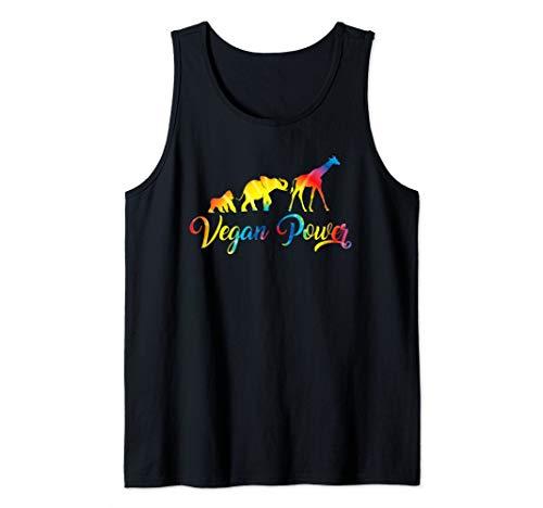 (Vegan Power Art Vegetarian Jungle Animals Tie Dye Graphic Tank Top)