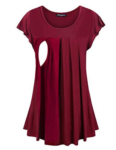 Miagooo Breastfeeding Tops, Womens Short Sleeve Nursing Tshirt Comfy Postpartum Clothes Color Block Pregnancy Maternity Tunic Latched Mama Wine XL