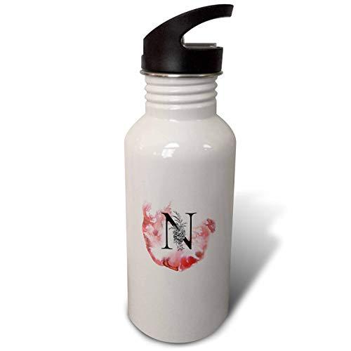 (3dRose Uta Naumann Personal Monogram Initials - Letter N Personal Floral Vintage Floral Monogram-Personalized Initial - Flip Straw 21oz Water Bottle (wb_292125_2))