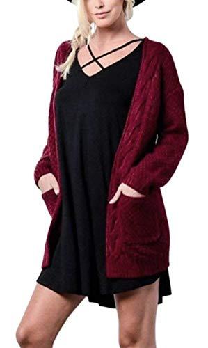 Con Lunghe Outerwear Rot Di Cappotto Invernali Autunno Forcella Aperto A Pullover Maglia Libero Mode Relaxed Tasche Vintage Maniche Moda Eleganti Tempo Donne Marca Giacca gZwRfqxEn