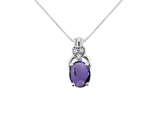 RYLOS Simply Elegant Beautiful Amethyst & Diamond Pendant/Necklace - February Birthstone