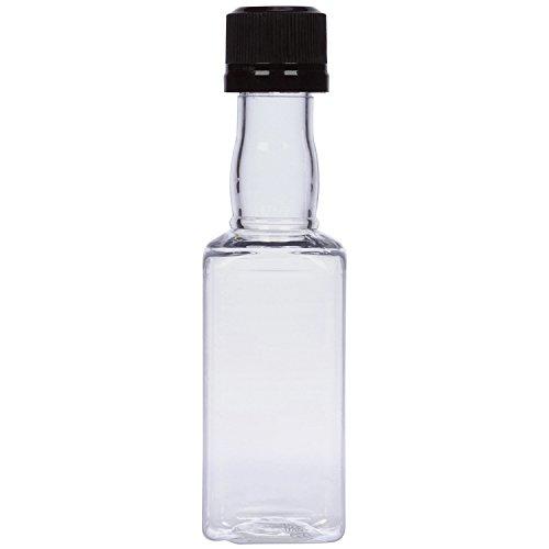 (12) Square Mini Liquor Bottles 50ml Black mini empty plastic alcohol shot bottles (Black)