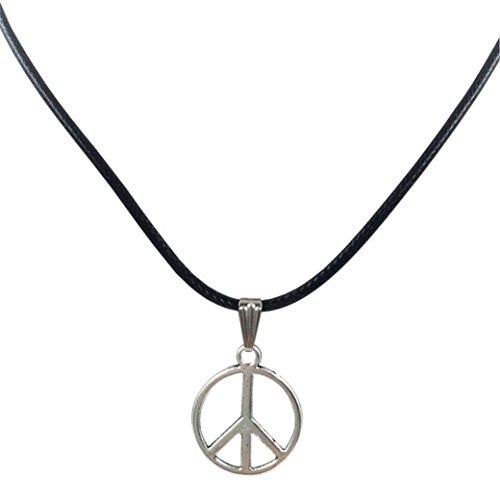 Necklace Heart Sign Peace (Willsa Women necklace, Retro Peace Necklace Pendant Black Leather Cord Choker Charm)