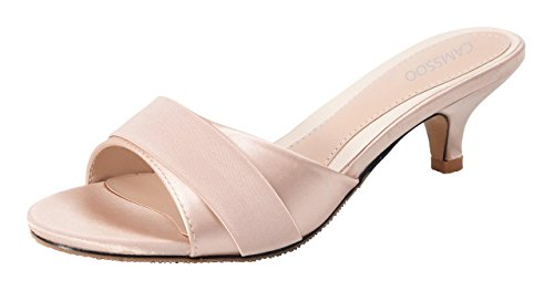 (Womens Summer Open Toe Satin Simple Sandals Low Heeled Slippers Champagne Size US6.5 CN37)