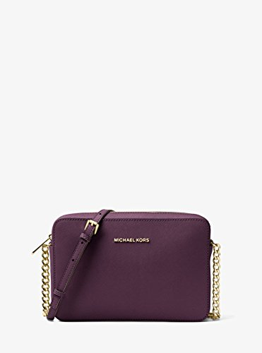 MICHAEL KORS Jet Set Travel Large Saffiano Leather Crossbody (Damson)