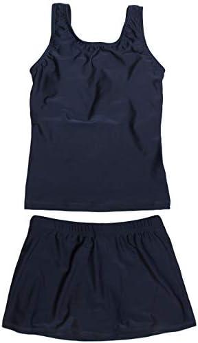 스쿨 수영복 여 아 스커트 & 팻 분할 수영복 여자 아이 네이 비 단색 / School Swimsuit Girls` Skirt & Spats Separate Swimsuit Women`s Kids Navy Blue Plain