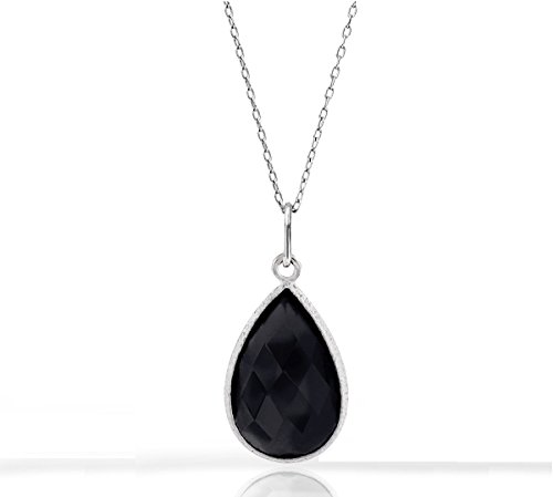 (Voss+Agin 5.0 CTW Genuine Black Onyx Tear Drop Pendant in Sterling Silver, 18'')