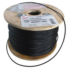 1/8 Diameter x 250 Foot 7x19 Black Aircraft Cable-by-stag rigging - Air 250'