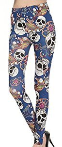 Womens Pirate Skull Jewelry Leggings Soft Pants Free Size Punk Gothic Tights Christmas Gifts
