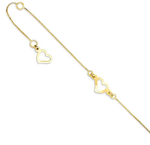 ICE CARATS 14k Yellow Gold Adjustable Chain Plus Size Extender Heart Anklet For Women Ankle Beach Bracelet by ICE CARATS