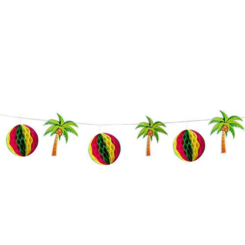 Party Plaque Favor Name (Taimot Banner of Hawaiian Party Decoration with Party Flag Banner Accessory for Hawaiian Theme Birthday Party Decoration Including honeycombs Coconut Trees 3m Long Rope)