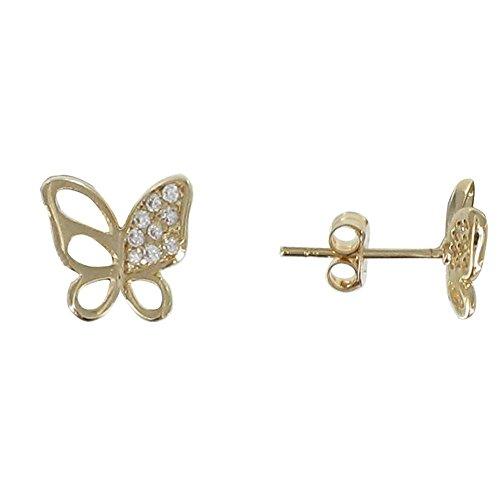 Les Poulettes Bijoux - Boucles d'Oreilles Plaqué Or Papillon Ajouré et Strass
