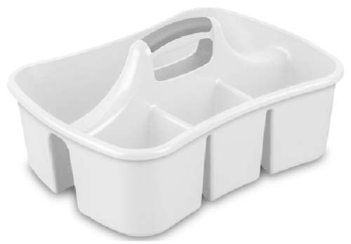STERILITE 15888006 White 4 Compartment Cleaning Supplies Caddy - Quantity 10