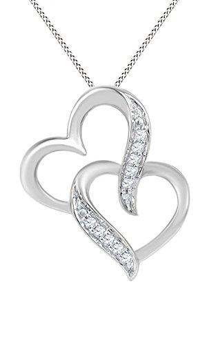 Jewel Zone US White Natural Diamond Accent Interlocking Double Heart Pendant Necklace in 10k White Gold ()