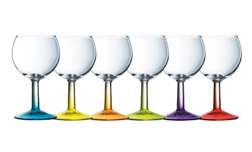 Luminarc 9208305 Crazy Colors Verres à Vin Couleurs Assortis 19 Cl Lot de 6