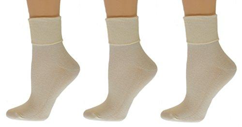 Sierra Socks Women's Organic Cotton Extra Smooth Toe Seaming 3 Pair Pack (Fits Shoe Size 4-10, Socks Size 9-11, Ivory (3 Pair Pack)) (Ivory Womens Socks)