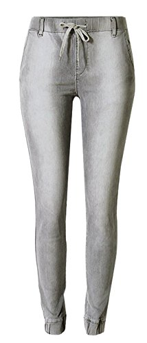 - Skirt BL Women's Solid Stretch Drawstring Casual Skinny Pants Cargo Jogger Jeans Grey,US 16-18