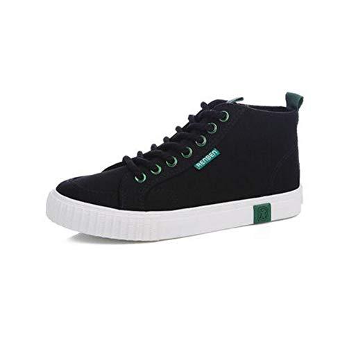 FH Zapatos de Lona de Alto para Ayudar a los Estudiantes Salvajes Zapatos Planos Casuales (Color : Negro, Size : EU36/UK3.5/CN35)