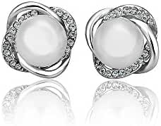 TANGMI® White Gold Plated Platinum18K Pearl Zircon Love Knot Stud Silver Earrings