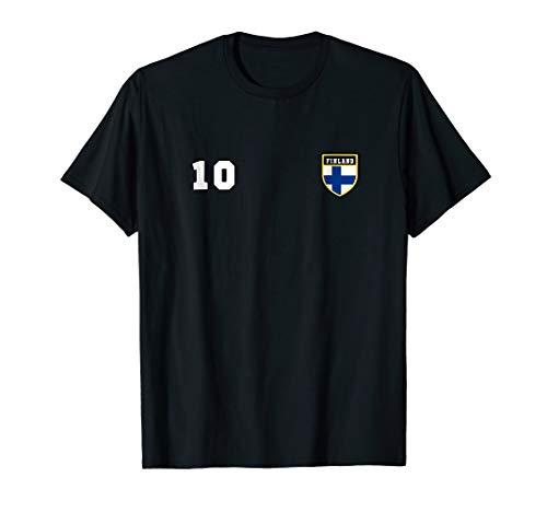 Finland T-shirt Number 10 Soccer Flag Football Finnish Finns (Finnish Of Coat Arms)