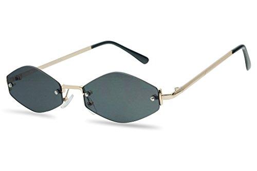 (SunglassUP - Extremely Small Mini Narrow Frameless Geometric Oval Retro Vintage Sunglasses Unisex (Gold Frame | Black))