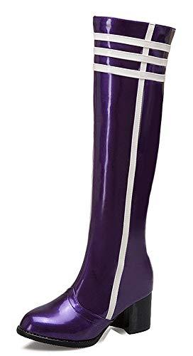 Violet Eclair Hiver Fermeture Aisun Bottes Mode Bloc Talon Femme Cuissardes Y4qzH
