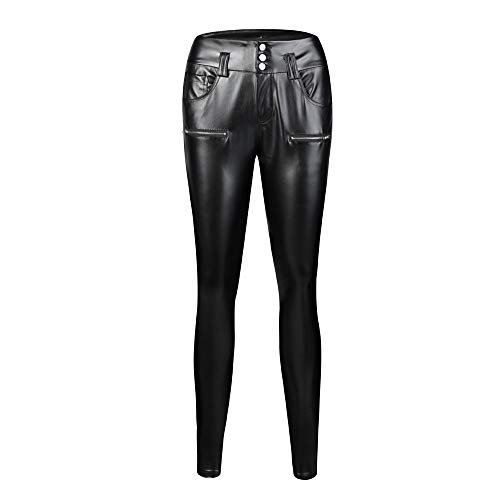ANJUNIE Women Stretchy Faux Leather Leggings with Pocket Skinny High Waist Tights Pants(Black,S)