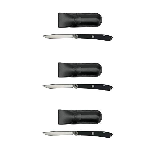 Kai Personal Portable Folding Pocketknife Steak Knife with Leather Pouch Holder (3 Pack)