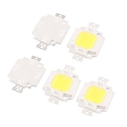 eDealMax 5pcs Bombilla 10W 30-34V la viruta del LED blanco puro super brillante de