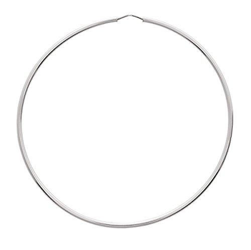 KAHLA - Anneaux - Boucles d'oreilles - Créoles - Or Blanc - Or 18 carats - Diamètre - 70 mm - Epaisseur - 1.5 mm - www.diamants-perles.com