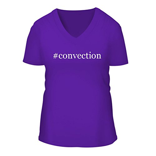 Convection   A Nice Hashtag Womens Short Sleeve V Neck T Shirt Shirt  Purple  Large