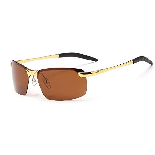 Sol para Sol Los Gafas Hombre Oro Gafas Polarizadas Negro Marco De De LBY Color Hombres de Metálico del fOqW77S