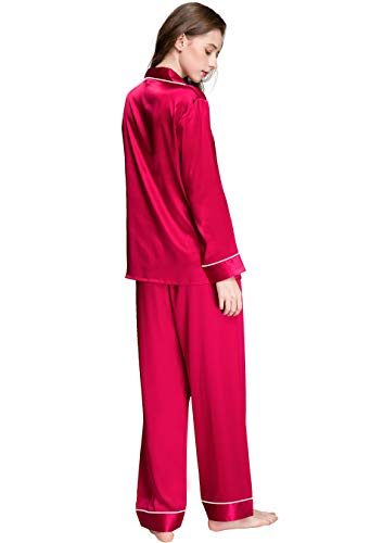 Womens Silk Satin Pajamas Set Sleepwear Loungewear Red 3XL