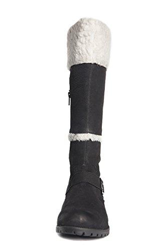 15 Botas Longitud y piel piel 15 pierna pantorrilla pulgadas de Negro y Cremallera de ancho pulgadas media 14 Negro de de marrón para mujer bota pfpqwr