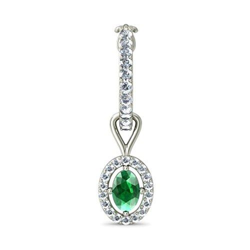 Or blanc 14K 0,61carat au total Round-cut-diamond (IJ | SI) et émeraude Boucles d'oreilles créoles