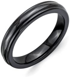 Titanium Black Ti Domed 4mm Polished Rounded Edge Band Best Quality Free Gift Box