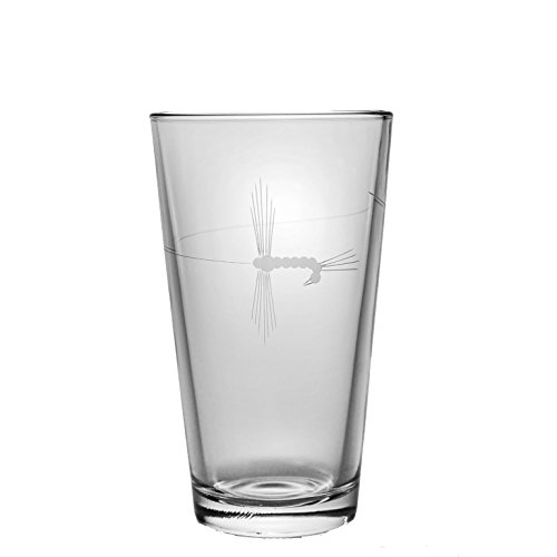 Rolf Glass Etched Fly Fishing Pint Glass (Set of 4), 16 oz, Clear