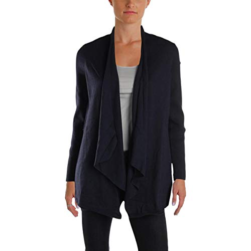 (Calvin Klein Performance Womens Ribbed Knit Open Front Cardigan Sweater Navy M)