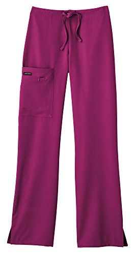 Classic Fit Collection by Jockey Women's Tri Blend Zipper Scrub Pants XX-Large Plum Berry
