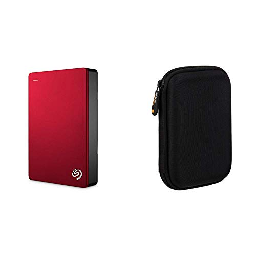 Seagate Backup Plus Portable 5TB External Hard Drive HDD – Red USB 3.0 for PC Laptop and Mac, 2 Months Adobe CC Photography (STDR5000103) & AmazonBasics External Hard Drive Portable Carrying Case