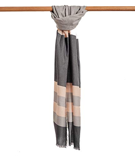 WoolOvers Womens Woven Color Block Scarf Grey Colour Block, 1size