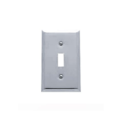 Baldwin Estate 4751.260.CD Square Beveled Edge Single Toggle Switch Wall Plate in Polished Chrome, 4.5
